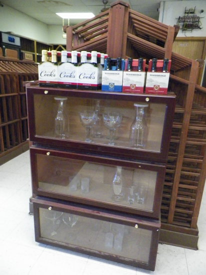 """Three Section Drop Front Display Cabinet. 41""""H x 11""""D x 31""""W. Inventory Not"""