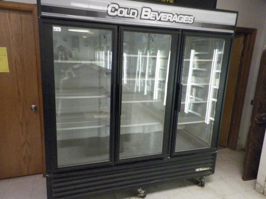 True, Three Door Beverage Cooler, Model GDM72. Seventy Cubic Feet.