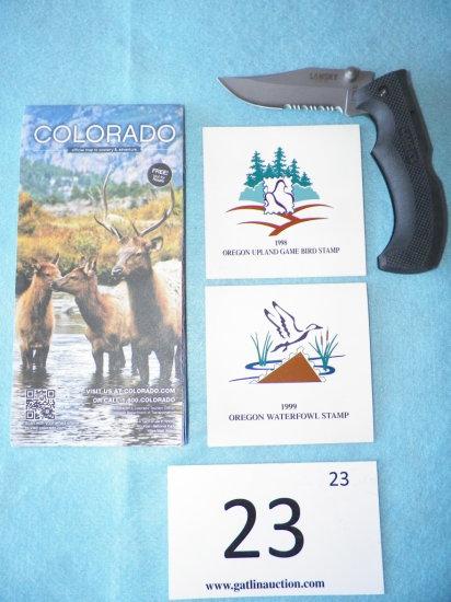 Colorado 2014-15 Map, 1998 Oregan Game Bird Stamp, 1999 Oregan Waterfowl Stamp, Lansky Easy Grip Kni