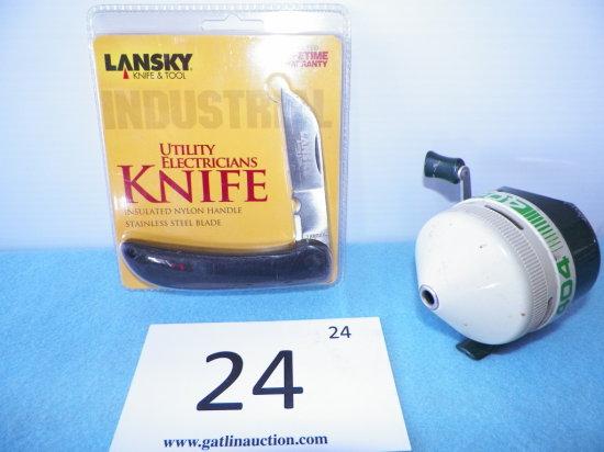 Zebco 404 Closed Fishing Reel, Lansky Utility Electrictians Knife