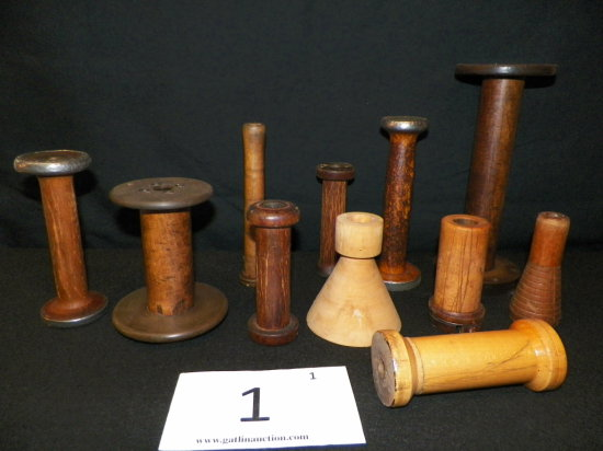 Collection of 10 Wooden Sewing Spools. Various Sizes.