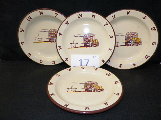 """Quanity x 4 - Monterrey Ranchware 10"""" Plates, very minor chip on one plate"""