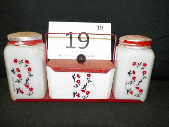 Vintage Salt and Pepper w/ Sugar Cube Holder