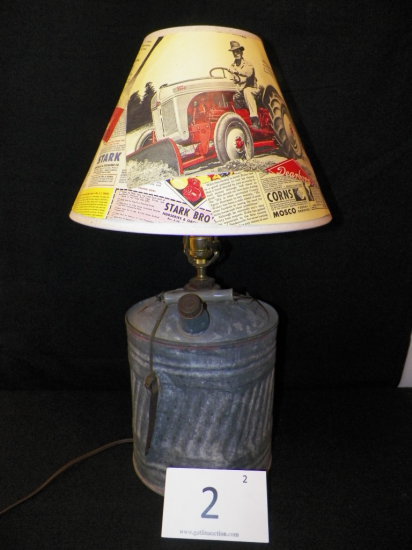 Vintage Lamp made from Coal Oil Can, With Primitive Scene Lamp Shade, works