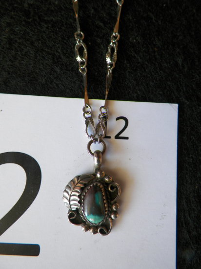 """15"""" Bisbee Turquoise Pendant Necklace withRope and Leaf Design, Half Moon M"""