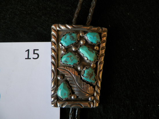Mens Bolo Tie w/ Silver Slide and Six Turquoise Nuggets and Silver Leaf