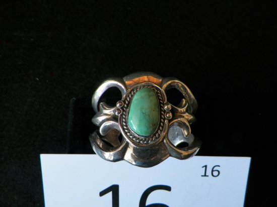 Silver Navajo Sandcast Bracelet with Fox Turquoise Stone Set in Rope Design