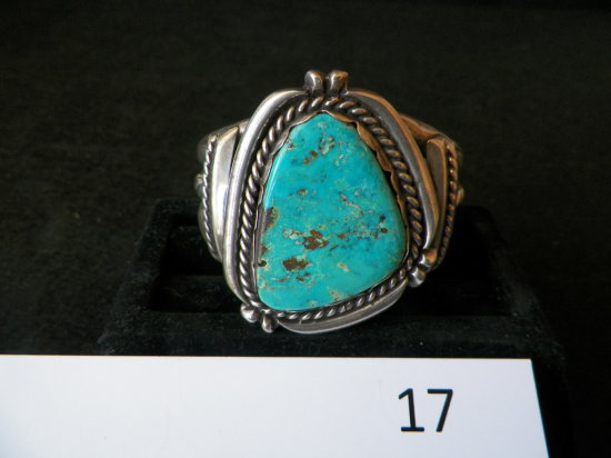 Silver Navajo Bracelet with Large Morenci Turquose Stone with Rope Design a