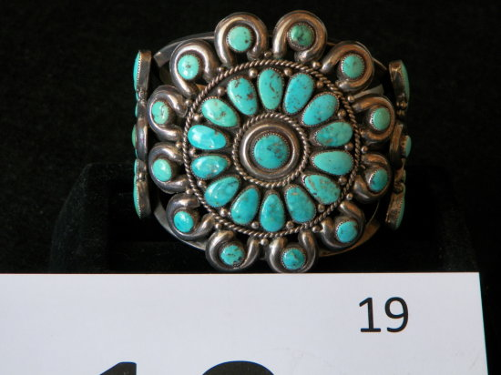 Zuni Cluster Bracelet with 47 Morenci Turquoise Stones. Set with Rope and H