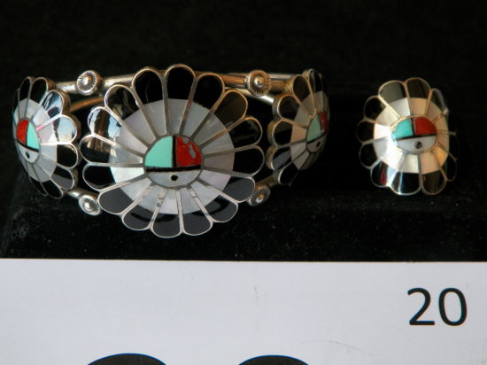 Matched Bracelet and Ring Zuni Inlay Sun Shield Design of Turquoise, Coral,