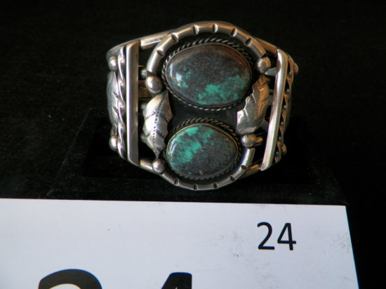 Heavy Silver Cuff Bracelet with Two Large Bisbee Turquoise Stones with Leaf