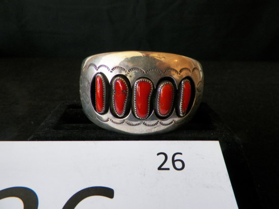 Silver Cuff Bracelet with Five Coral Stones set in a Shadow Box Design. Sig