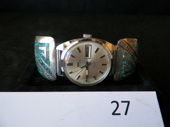 Mans Expansion Type Watch Band with Turquoise Chip Inlay
