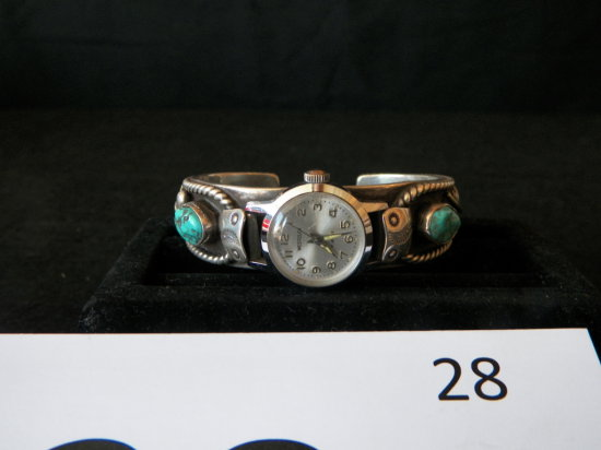 Ladies Bracelet Type Watch Band Navajo Silver with Two Lone Mountain Turquo