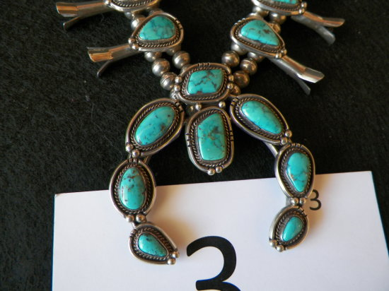 Turquoise Squash Blossom, Twelve blossoms with tungsten turquoise stones wi