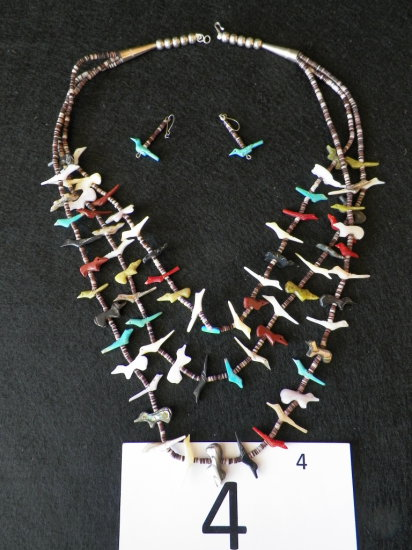 """24"""" Fetish Necklace. Coral, Mother of Pearl, Turquoise Birds and Animals."""