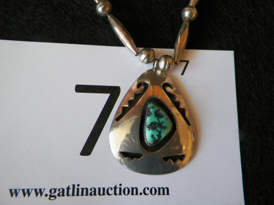 "26"" Silver Pendant Necklace, Hopi Overlay with Lone Mountain Turquoise Ston"