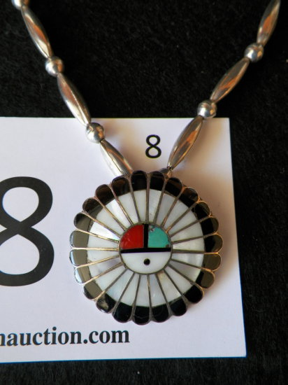 "19"" Zuni Sun Shield Necklace, Single Strand of Round Beads and Melon Seed B"
