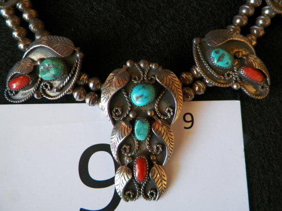 """12"""" Turquoise and Silver Necklace. Coral and Turuoise Leaf Design. Double S"""
