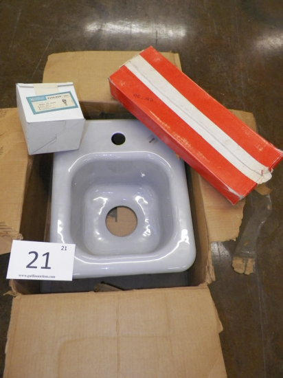 "American Standard 7055.025 party pak sink, 13""x16"", 1-hole, enameled cast i"