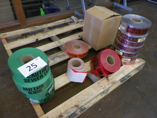 Assortment of Caution Tape for: Sewer - 4 Rolls; Electric - 13 Rolls; Telep