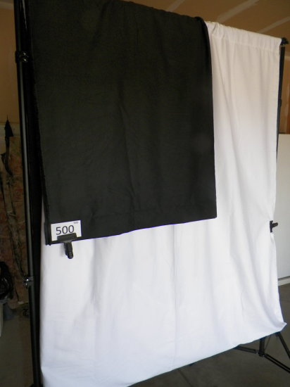 Back Drop Frame 2-PBL 8' tripods, spring loaded w/ adjustable 2 piece cente