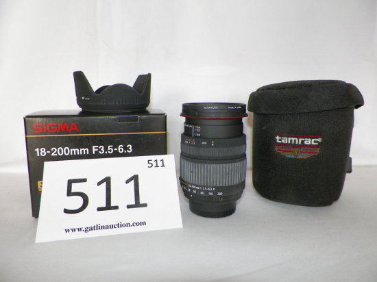 Sigma Lens, 18-200mm F3.5-6.3 w/softcase