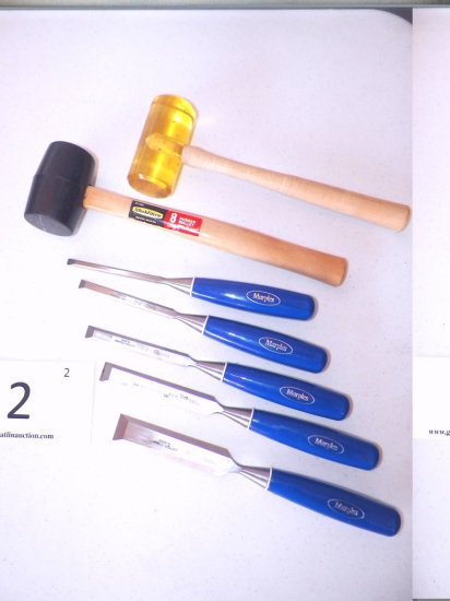 5 pc. Marples Wood Chisel Set, Work Force 8 Ounce Rubber Mallot, Plastic Mallot