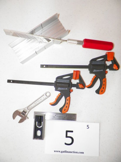 """Craftsman 100mm Adjustable Wrench, 4"""" Starret Square, 2 Homack Clamps, Mini Miter Saw"""