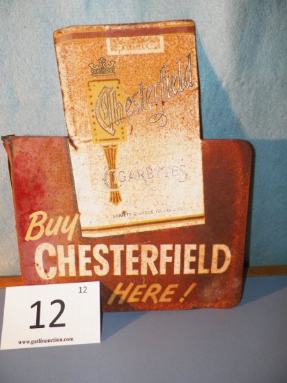 """Double Sided Cigarette Metal Sign -Chesterfield - L & M - 14 3/4""""x12"""""""