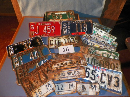 Approx. 24 License Plate, 60's-80's, KS, OK, TX, COLO