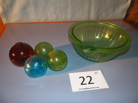 Green Depression Glass Beater Bowl, Four Glass Orbs