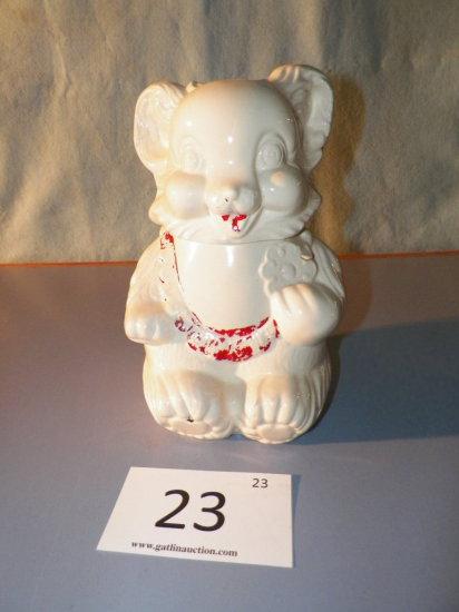 Vintage Bear Cookie Jar, Marked Royal Ware, Small Rim Chip
