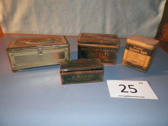 Four Tins - Artstyle Chocolates, Epson Salt, Crayola Crayon, Zuban Cigarett