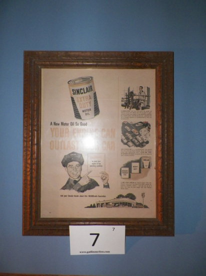 Framed Sinclair Advertising Poster