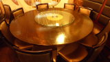 6 FT. WOOD TABLE w/ 8 CHAIRS & LAZY SUSAN