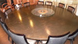 8 FT. TABLE w/ 12 CHAIRS & LAZY SUSAN