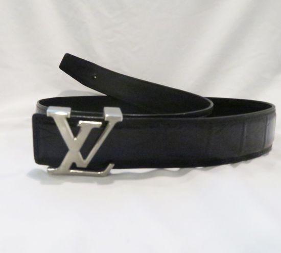 Louis Vuitton Black Belt with steel LV buckle, size 100cm