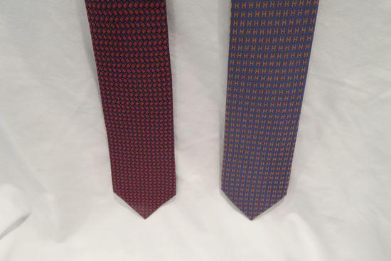 (2) Hermes Silk Ties - Twillbi Locks of Love design in red/blue; Faconnee H Bicolore in violet/orang