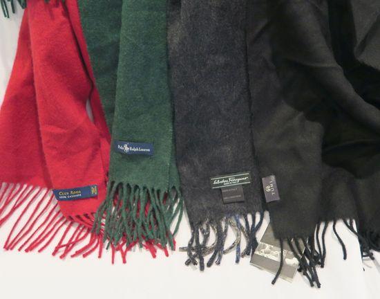 (4) Assorted Scarves, Salvatore Ferragamo, Tumi (new with tag), Ralph Lauren, Club Room