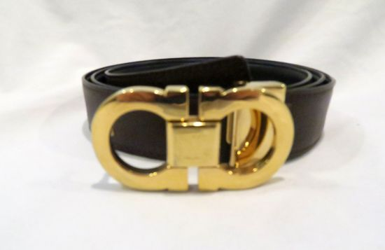 Salvatore Ferragamo Reversible Leather Belt, with Double-Gancini Buckle, size unknown