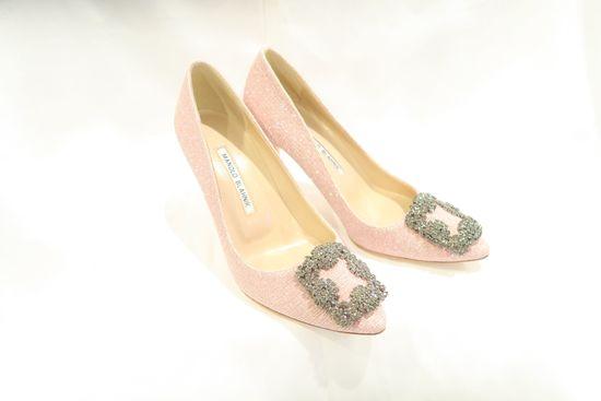 Manolo Blahnik Hangisi Pink Glitter Jewel Buckle Pumps (size 35)