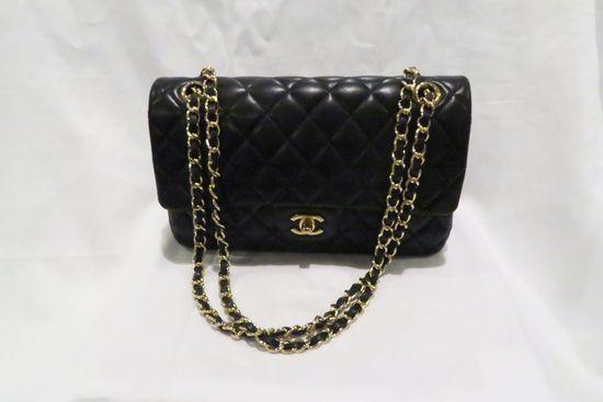 Chanel Classic Flap Bag, Lambskin, Gold Tone Hardware, Signature CC Turn Lock Clasp, Interwoven Leat