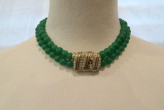 Necklace, green jade-colored beads with rhinestone clasp