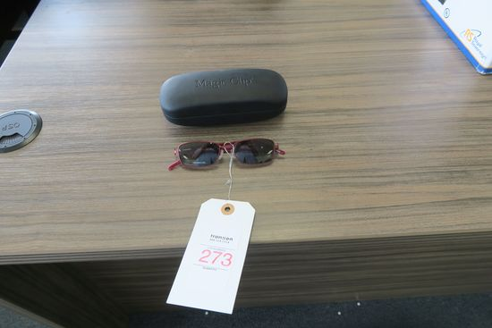 Magic Clip Glasses with Clip-on Sunglass Lenses, Burgundy, in case