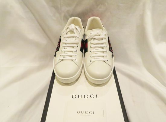 Gucci Ace Embroidered Sneakers, white leather with green and red web, embroidered Kingsnake applique