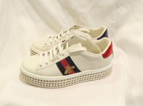 Gucci Ace Sneaker with Crystals Style 505995 (size 35.5)