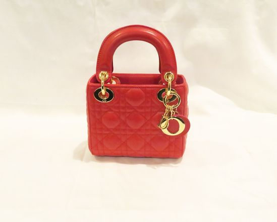 Lady Dior Red Lambskin Clutch 16-BO-1100