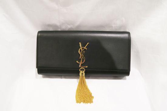 Yves St. Laurent Monogram Kate Cassandre Tassel Black Gold Calfskin Leather Clutch