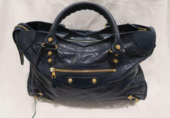 Balenciaga Giant Agneau Leather Bag Bleu Obscur, 281770-4012-F-002123